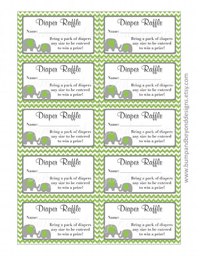 Digital Baby Shower Printable Diaper Raffle Tickets Green Grey Chevron Elephant