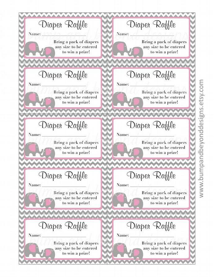 Diaper Raffle Tickets Baby Shower Gum Pink Grey Chevron Elephant Diaper Raffle