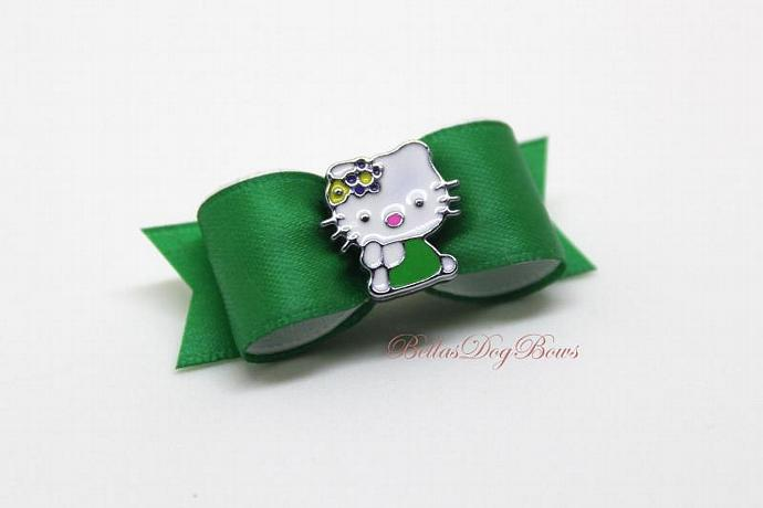 "5/8"" Designer Inspired Kitty Rhinestone Dog Bow ~ (Green)"