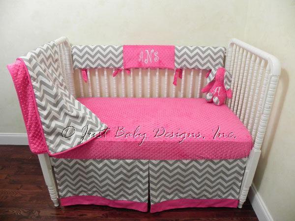 Custom Bumperless Crib Bedding - Teething Rail Guard Gray Chevron with Hot Pink