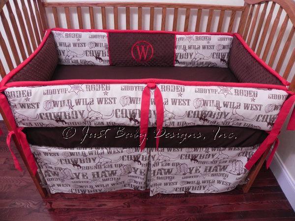 Custom Crib Bedding Cowboy Rodeo