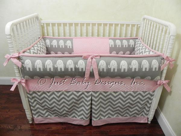 Custom Baby Bedding Set Daphne - Gray Chevron and Gray Elephants with Pink