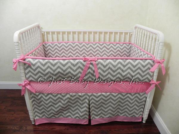 Custom Crib Bedding Aimee - Gray and White Chevron with Pink