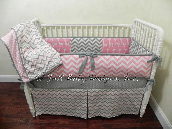 Custom Crib Bedding Set Hailey - Pink and Gray Chevron