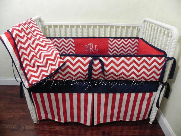 Custom Baby Bedding Set Michael w/ Red Chevron