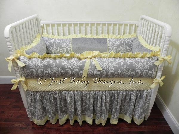 Baby Crib Bedding Set Lizzie - Gray Damask with Pastel Yellow