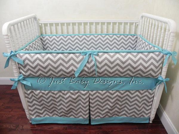 Custom Baby Bedding Set Tiffany - Gray Chevron with Tiffany