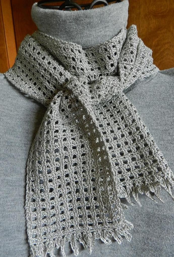 Gray And Silver Crocheted Scarf By Cozy On Zibbet