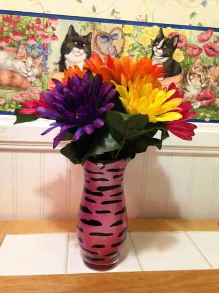 Zebra Print Vase Hand Painted Home By Creativeglassbybecky On Zibbet