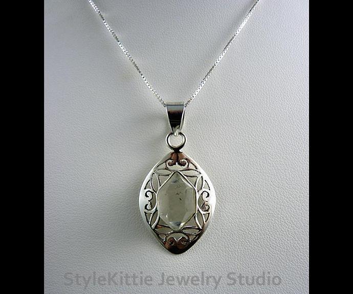 Double Point Herkimer Diamond Sterling Silver Filigree Pendant