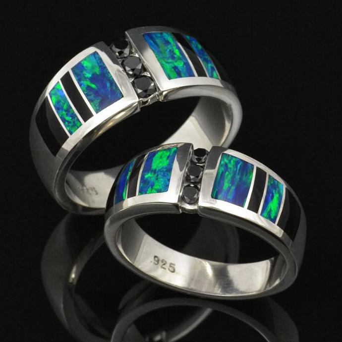 His and Hers Lab Created Opal Wedding Ring Set with Black Diamonds and Black