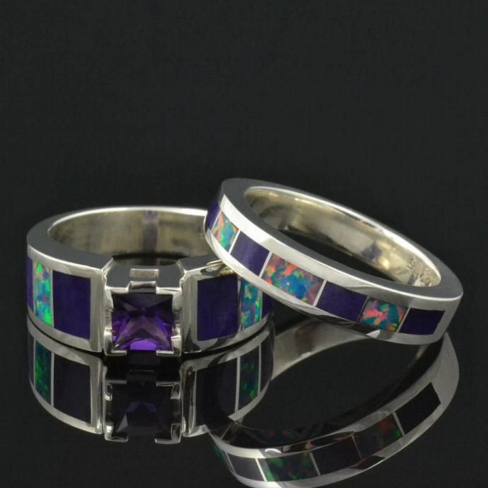Lab Created Opal Wedding Ring and Engagement Ring Set with Amethyst and Sugilite