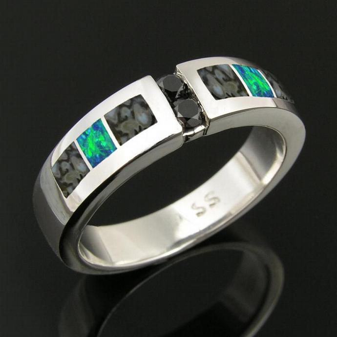 Dinosaur Bone and Lab Opal Ring with Black Diamonds in Stainless Steel
