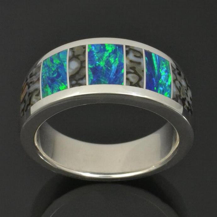 Dinosaur Bone and Lab Created Opal Ring In Sterling Silver