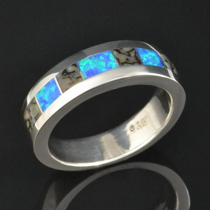 Gray dinosaur bone and lab created opal ring in sterling silver by Hileman