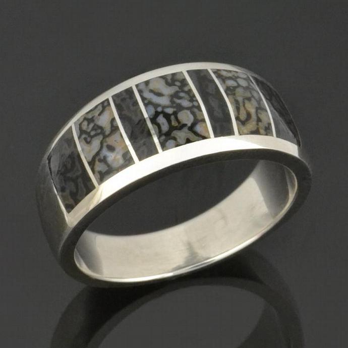 Gray Dinosaur Bone Ring In Sterling Silver