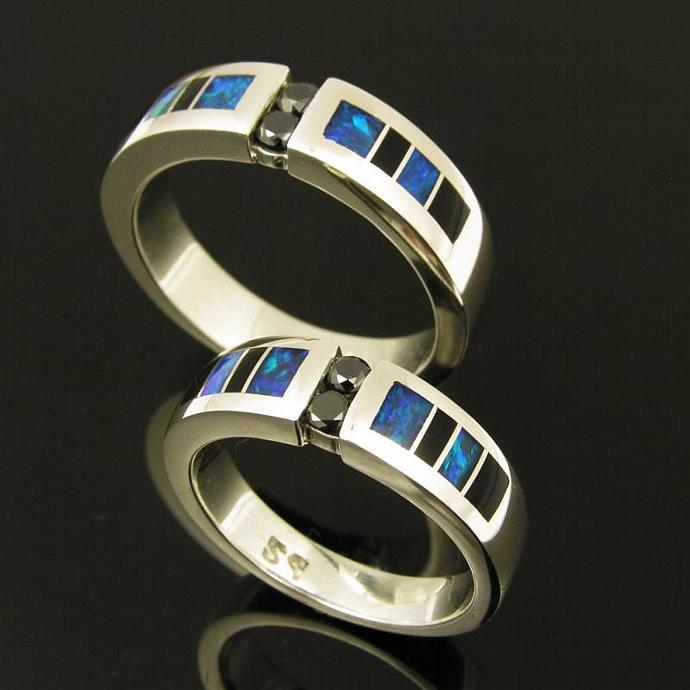 Australian Opal Wedding Ring Set with Black Diamonds by Hileman Silver Jewelry