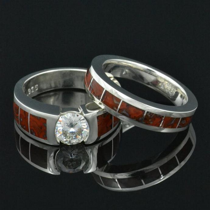 Dinosaur bone engagement ring and wedding ring with Moissanite