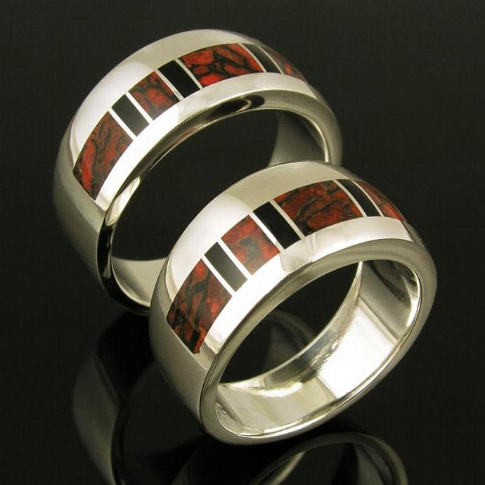 His and Hers Dinosaur Bone Wedding Ring Set