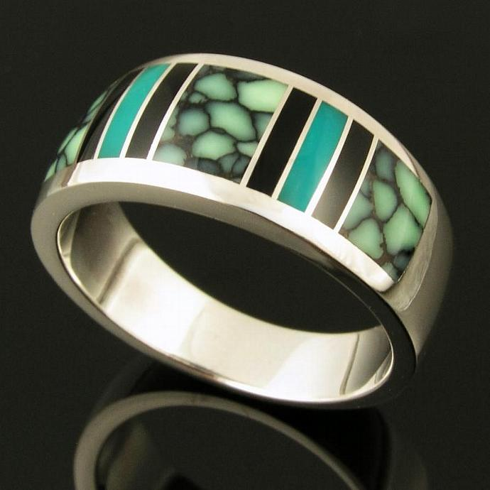 Black Onyx, Gem Silica and Chalcosiderite Inlay Ring