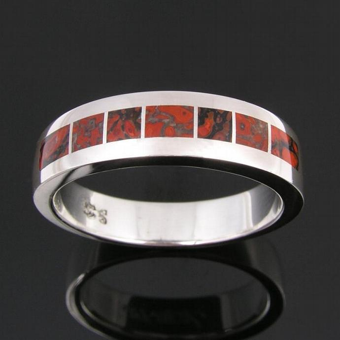 Fossilized dinosaur bone man's ring in sterling silver