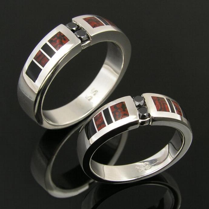 Dinosaur Bone Wedding Ring Set with Black Diamonds and Onyx