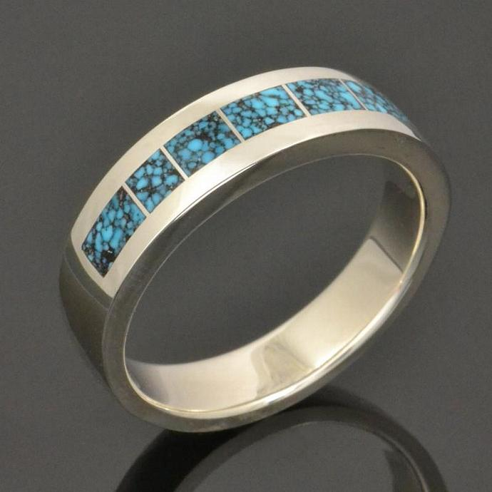 Kingman Spider Web Turquoise Ring or Wedding Ring in Sterling Silver by Hileman