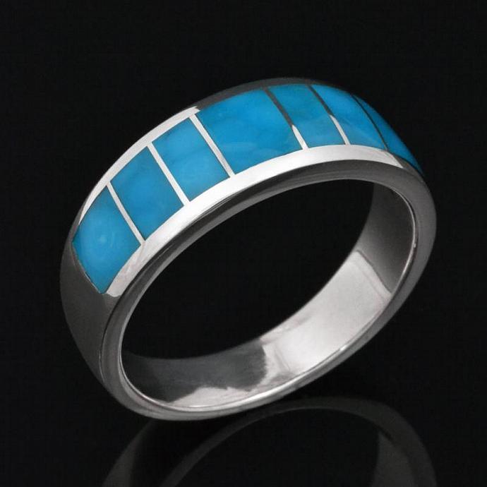 Birdseye Turquoise Wedding Ring In Sterling Silver