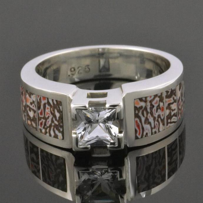 Dinosaur Bone Wedding or Engagement Ring with Princess White Sapphire in