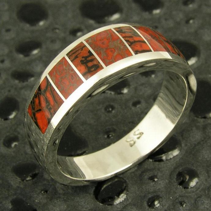 Dinosaur Bone Ring Handmade in Sterling Silver by Hileman Silver Jewelry