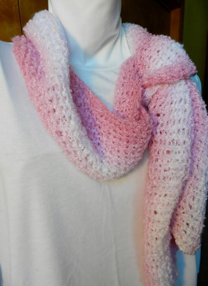 Knit Scarf, Pink and White Stripe