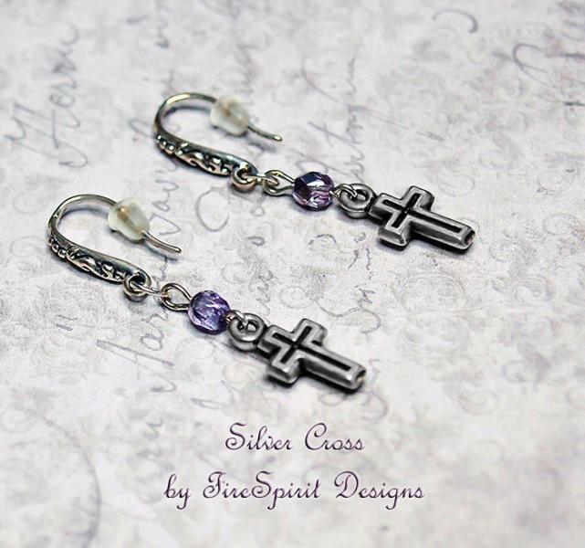 Silver Cross- handmade beaded earrings