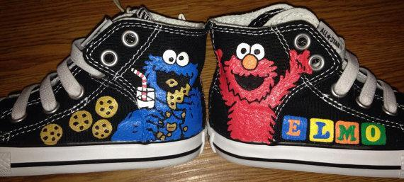 5077cbc3297c Cookie Monster and Elmo Hand Painted