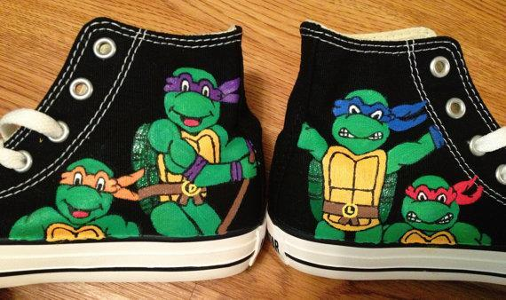 653994c6240b TMNT Hand Painted Kids Converse Shoes by CandysCustomPaints on Zibbet