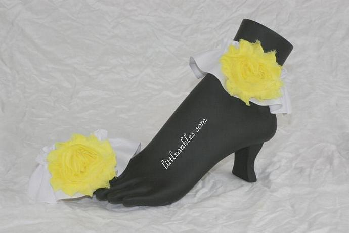 Pretty Anklets for the Summer! Large Yellow Shabby Chic Blossoms on White