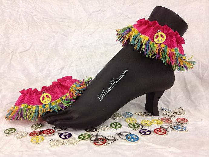 Funky Anklets! Peace Signs! Multi-Color Chenille Fringe with Peace Sign Charms