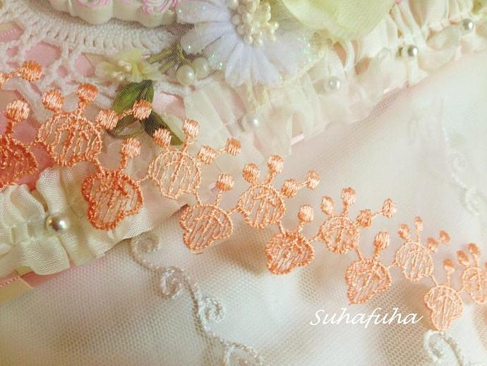 Peach Organza Embroidered Lace for making Flowers, Embellishment, Scrapbooking,