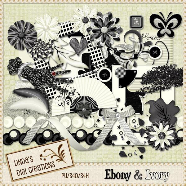 Ebony & Ivory (Digital Scrapbooking Kit)