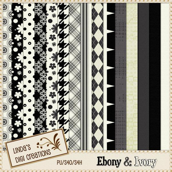 Ebony & Ivory (Digital Scrapbooking Kit)
