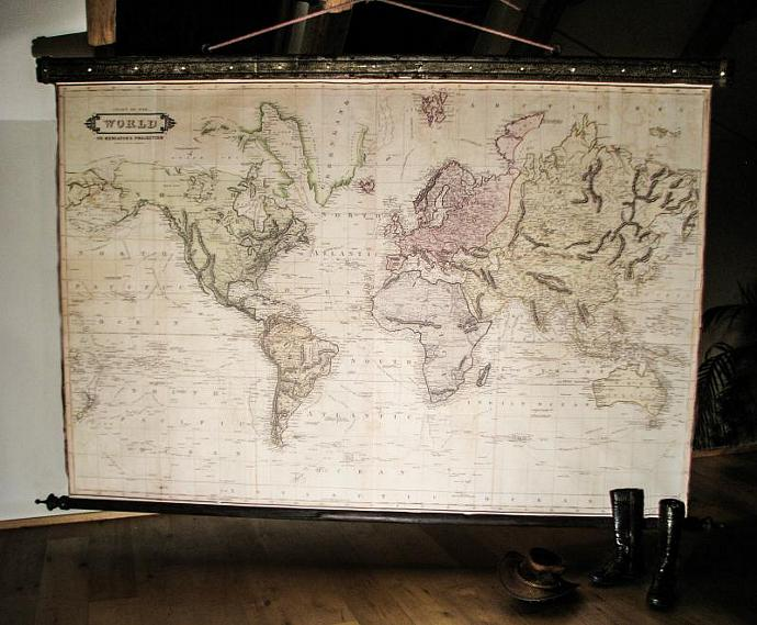 Beautiful large world map 1831 canvas antique wooden by zmaps on beautiful large world map 1831 canvas antique wooden iron pirate industrial gumiabroncs Gallery