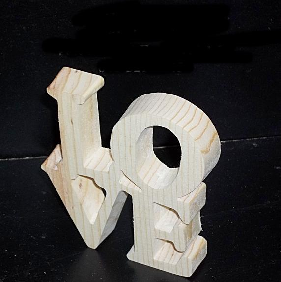Love Sign Unfinished  Wood Stand Alone PL-1-.75-2