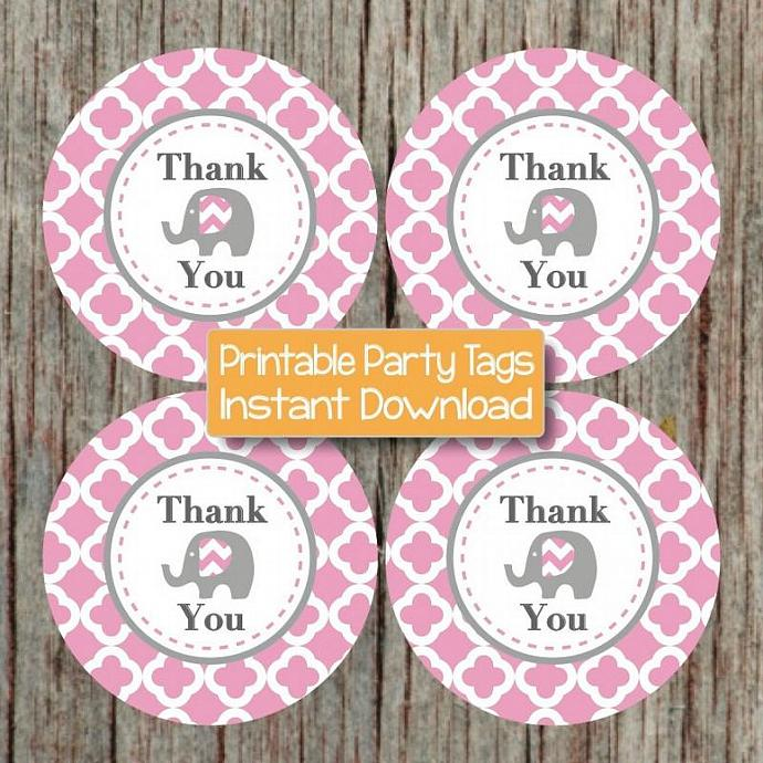 Gum Pink Grey Elephant Birthday Party Thank You Tag Baby Shower Printable diy
