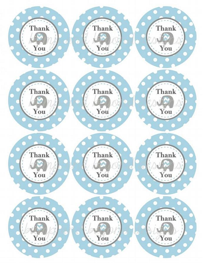 Thank You Favor Tags Elephant Printable Baby Shower Birthday Thank You Favors