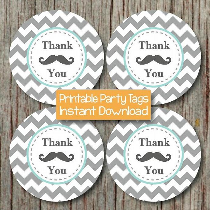 Baby Shower Favor Mustache Party Printable Thank You Tags diy Birthday Light