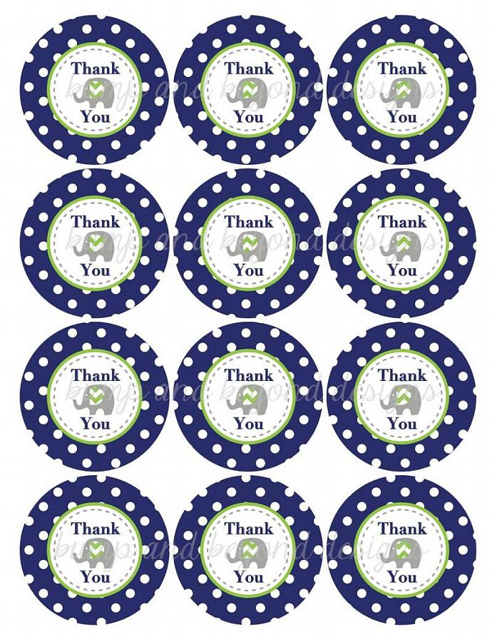 Thank You Favor Tags Prinable Stickers Navy Blue Lime Green Chevron Elephant