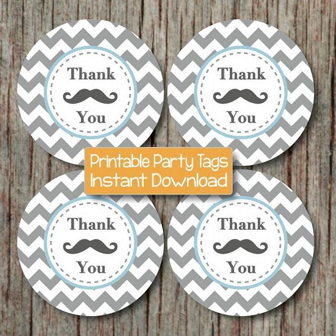 Mustache Thank You Baby Boy Favor Tags Birthday Party Mustache Printable Little