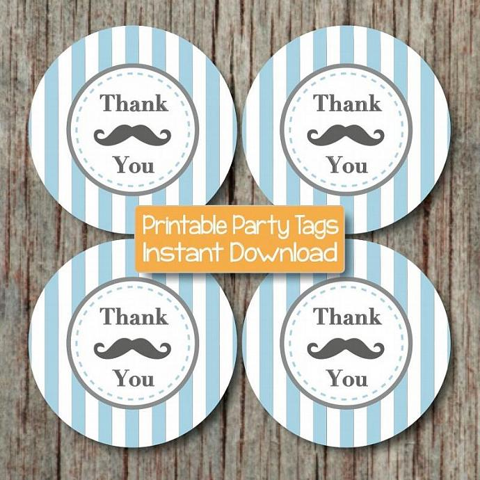 Mustache Thank You Tags Boy Party Favor Labels Digital Mustache Baby Shower