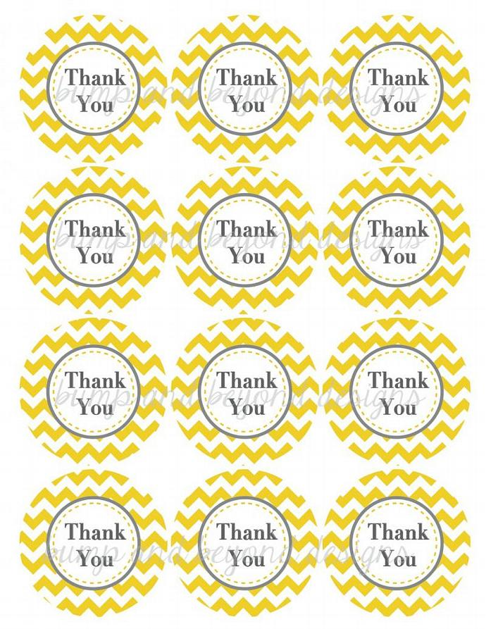 Thank You Tags Birthday Party Baby Shower Printable diy Yellow Grey Chevron