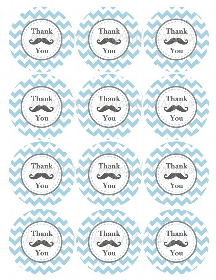 Mustache Bash Thank You Favor Tags Digital Mustache Baby Shower Birthday Party