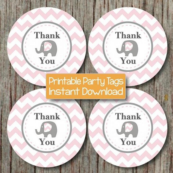 Digital Thank You Favor Tags Baby Shower Birthday Party Powder Pink Grey Chevron